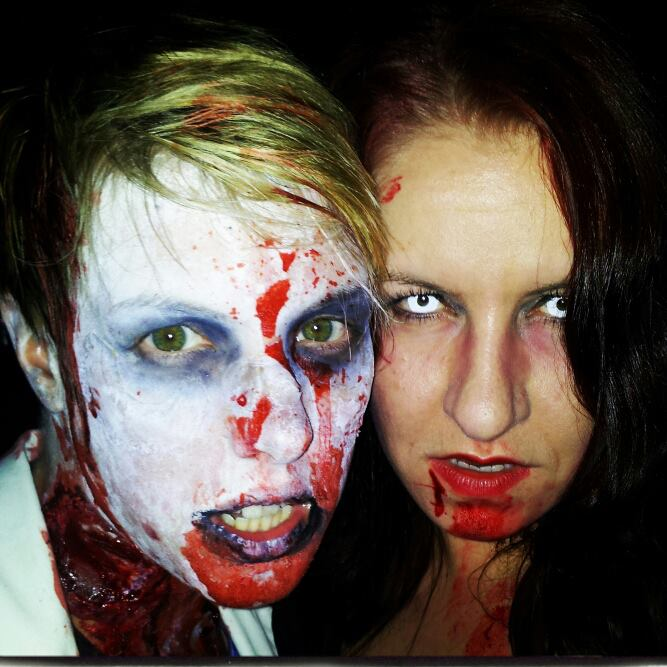 What I'd look like as a zombie (right), with my friend Morag.
