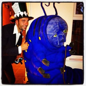 Mad Hatter Costume and 6ft Absolem the Catepillar