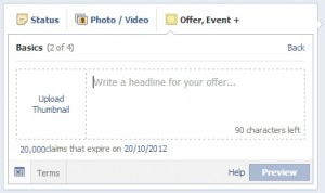 Facebook offers add a thumbnail and text up to 90 characters