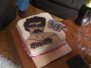 Tom Selleck Cake with Candles