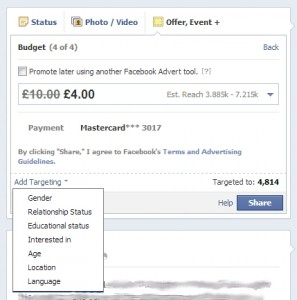 Facebook offers targeting to hit different subsets of your audience