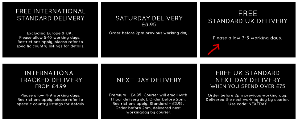 Look Fantastic delivery options
